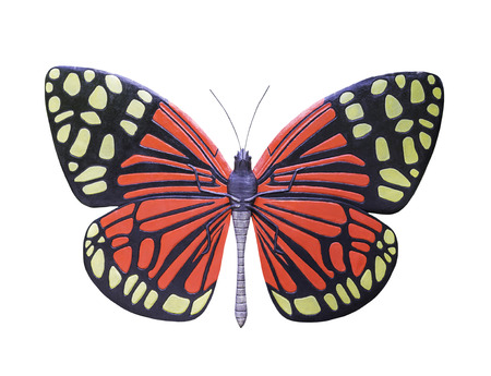 Butterfly statue isolated on white background with clipping path Stock Photo