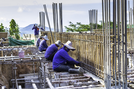 Labourers working on the construction building site