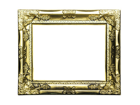 Golden classic frame isolated on white with clipping path Stock Photo