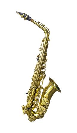 Golden alto saxophone isolated on white background Stock Photo