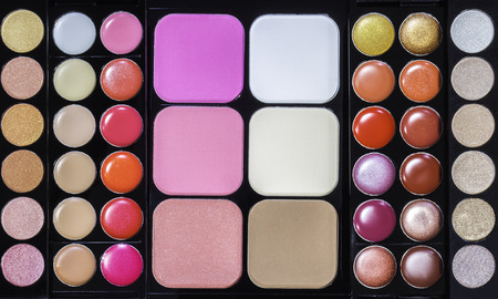 Colorful of set make up pallet texture background