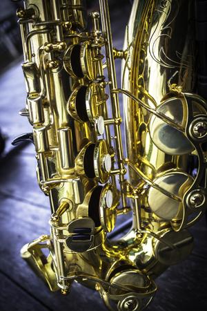Closeup detail of golden alto saxophone Stock Photo