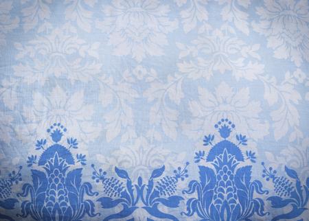 Closeup blue pattern of fabric batik background