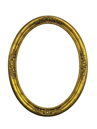 elipse: Marco de elipse clásica de oro aislado en blanco