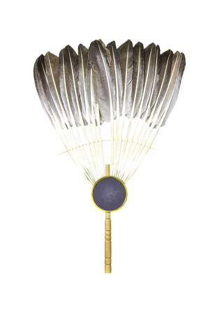Feather fan isolated on a white background Stock Photo