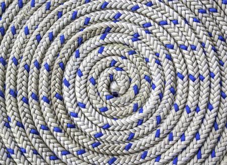 Closeup pattern of circular spirally nautical rope Stock Photo
