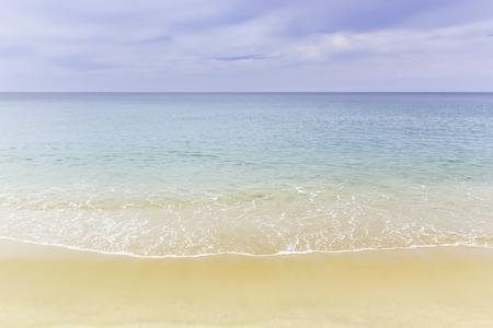 Beach and tropical sea with soft wave on sandy beach