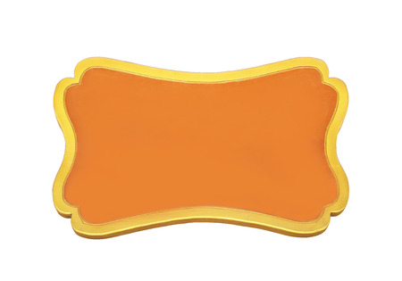 Orange wooden sign isolated on white with clipping path