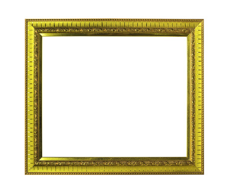 Golden wooden frame isolated on white with clipping path Stock Photo