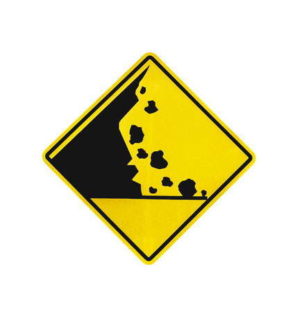 Rock falling warning sign isolated on white with clipping path