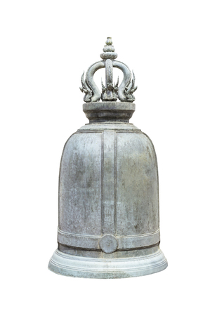 Ancient Thai bell isolated on white with clipping path