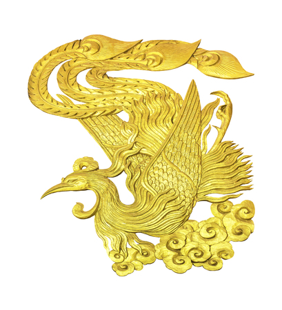 Golden wooden carving animal Chinese Swan isolated on white background