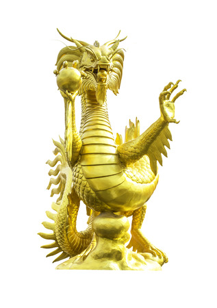 Golden dragon statue isolated on a white background