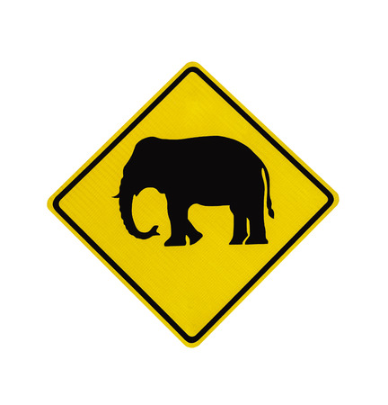 Elephant crossing road sign isolated on white wth clipping path