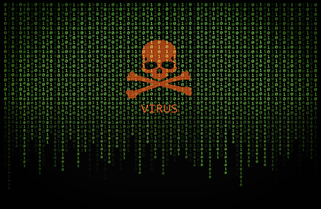 Red skull virus on green binary computer code background Stock Photo