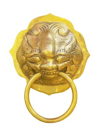 Lion door knocker isolated on white with clipping path Reklamní fotografie