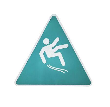 Wet floor warning sign isolated on white