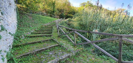 Access stairway to the Abbey of San Liberatore a Maiella, Serramonacesca, province of Pescara Zdjęcie Seryjne