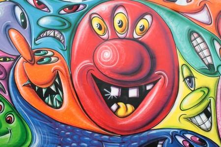 A colored smiley graffiti at Coney Island