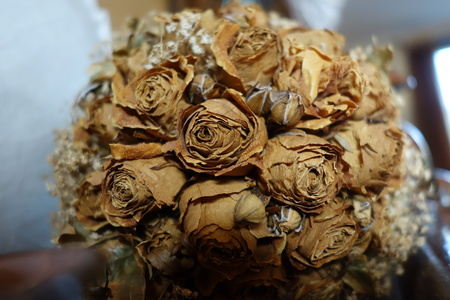 remembering: Macro of a dried roses bouquet remembering wonderful emotions