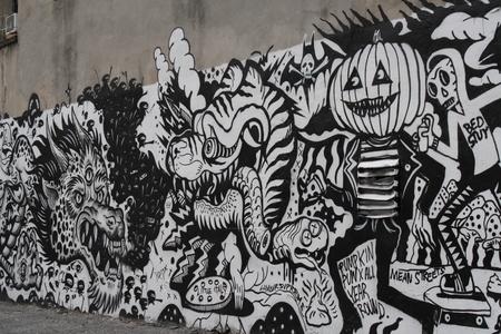 Black and white graffiti in New York Editorial