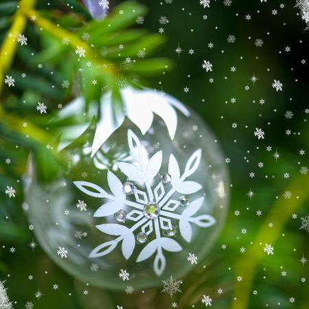 christmas tree ball: Christmas Background with Christmas Tree and Glass Ball, Shallow DOF, Selective Focus Stock Photo