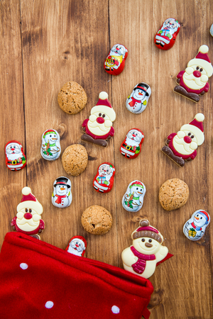 sweettooth: Red Christmas Stocking is ready for lots of Chocolate Sweets such as Santas, Snowman and Biscuits