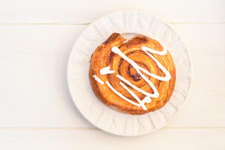 cinnamon swirl: Closeup of Cinnamon Danish Pastry Swirl