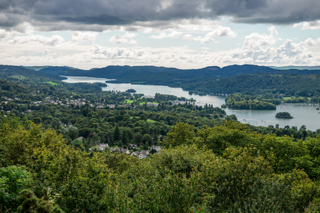 lake district: An aerial View of Windermere Lake from Orrest Head. English Lake District National Park, Cumbria, UK