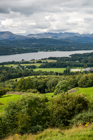 cumbria: An aerial View of Windermere Lake from Orrest Head. English Lake District National Park, Cumbria, UK