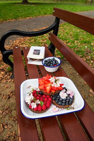 Homemade Chocolate Tarts with Berries such as Blueberries, Raspberries and Strawberries in the Spring Setting with Blooming Branches on the Background. Spring or Summer Picnic Concept