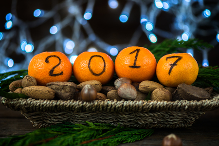 New Year 2017 is Coming Concept. Numbers written in Black Ink on the Oranges that are laying in the Basket with Pine Sticks, Nuts and Xmas Lights on the Background Stock Photo
