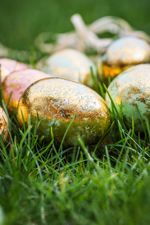 hapy: Golden Easter Eggs on green Grass Background, Space for Text