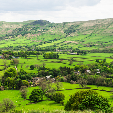 Picturesque View on the Hills near Edale, Peak District National Park, Derbyshire, England, UK