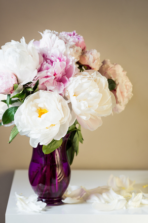 Fresh bunch of pink and white peonies in the vase on the bedside table. Card Concept, copy space for text