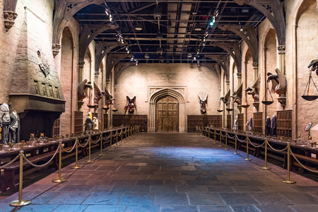 LEAVESDEN, UK - MARCH 24th 2017: The set of the Great Hall as Hogwarts. The Hall is located at the Warner Brothers studio and can be visited during the Making of Harry Potter tour. The studio is near London in Leavesden, UK