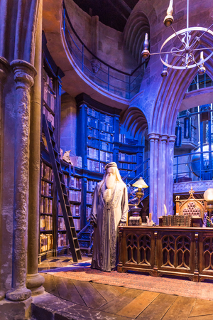 LEAVESDEN, UK - MARCH 24th 2017: The set of Dumbledores office at Hogwarts. The set is located at the Warner Brothers studio and can be visited during the Making of Harry Potter tour. The studio is near London in Leavesden, UK