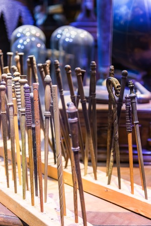 LEAVESDEN, UK - MARCH 24th 2017: The set of magic wands used in films about Harry Potter. It is located at the Warner Brothers studio and can be visited during the Making of Harry Potter tour. The studio is near London in Leavesden, UK