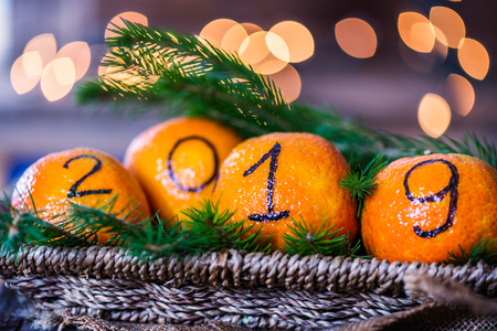 New Year 2019 is Coming Concept. Numbers written in Black Ink on the Oranges that are laying in the Basket with Pine Sticks and Xmas Lights on the Background