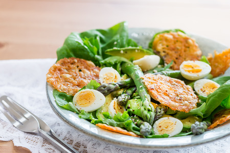 Asparagus Salad with quails eggs, avocado and cheese crisps, healthy detox lunch