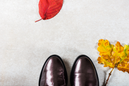 Trendy Leather Lace Up Brogues with Leaves. Composition made from autumn leaves. Flat lay, top view Stok Fotoğraf
