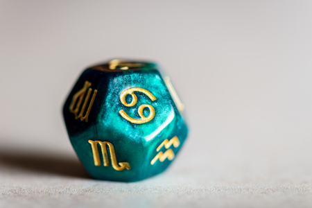 Astrology Dice with zodiac symbol of Cancer Jun 21 - Jul 22