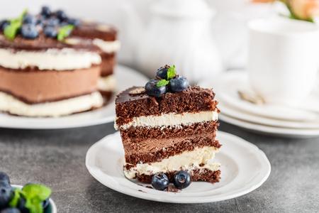 Gâteau étagé au chocolat belge. Couches de biscuit moelleux au chocolat, crème à la vanille et mousse au chocolat noir indulgente glacées avec une riche sauce au chocolat noir et décorées à la main avec des myrtilles fraîches