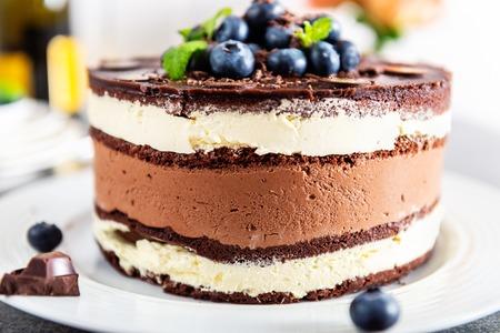 Belgische Schokoladen-Schichttorte. Schichten aus feuchtem Schokobiskuit, Vanillecreme und köstlicher dunkler Schokoladenmousse, glasiert mit reichhaltiger dunkler Schokoladensauce und von Hand mit frischen Blaubeeren dekoriert
