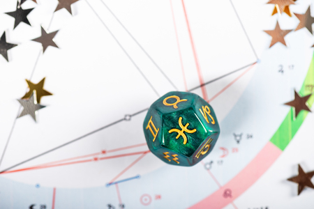 Astrology Dice with zodiac symbol of Pisces Feb 19 - Mar 20 on Natal Chart Background
