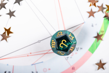 Astrology Dice with zodiac symbol of Aries Mar 21 - Apr 19 on Natal Chart Background