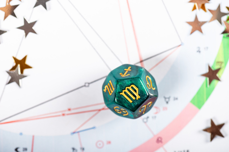 Astrology Dice with zodiac symbol of Virgo Aug 23 - Sep 22 on Natal Chart Background