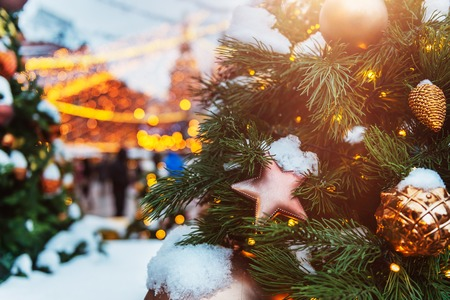 Christmas and New Year time in Moscow, beautiful Red Square with amazing Xmas decorations Stock Photo