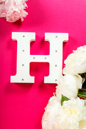 Wooden decorative letter H on pink background Stock Photo