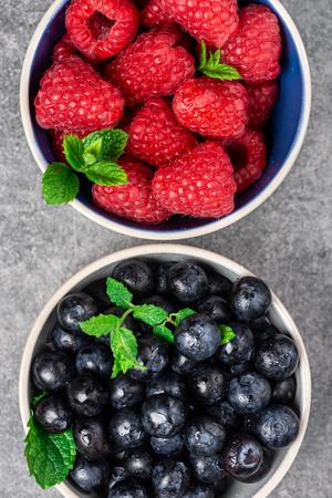 Fresh summer berries such as blueberries, raspberries, top view